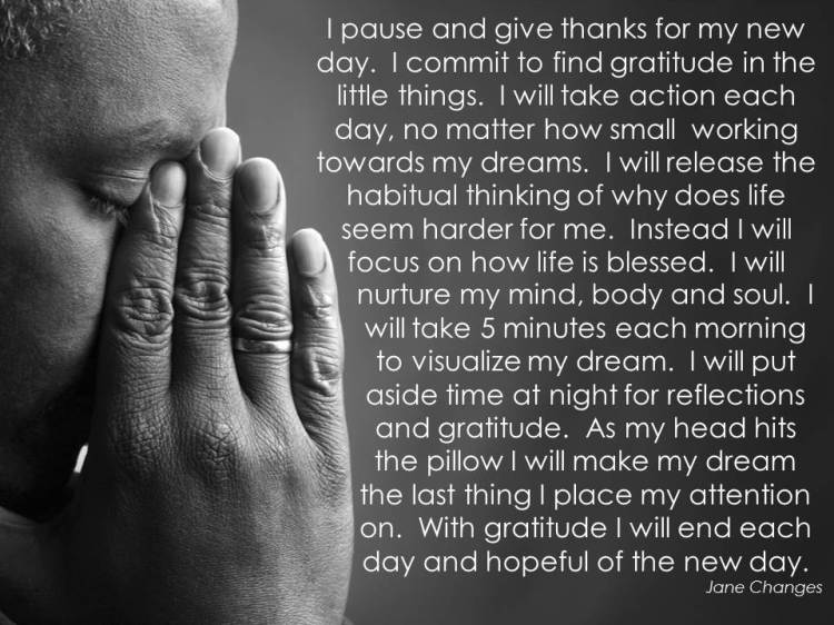 May my thoughts shift to gratitude and hope
